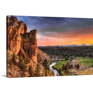 """Sunset at Smith Rock State Park in Oregon with view of Crooked river."" Canvas Wall Art"