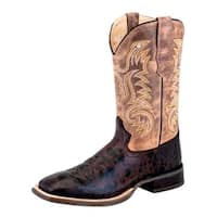 Old West Cowboy Boots Mens Corded Block Rubber Brown Truffle