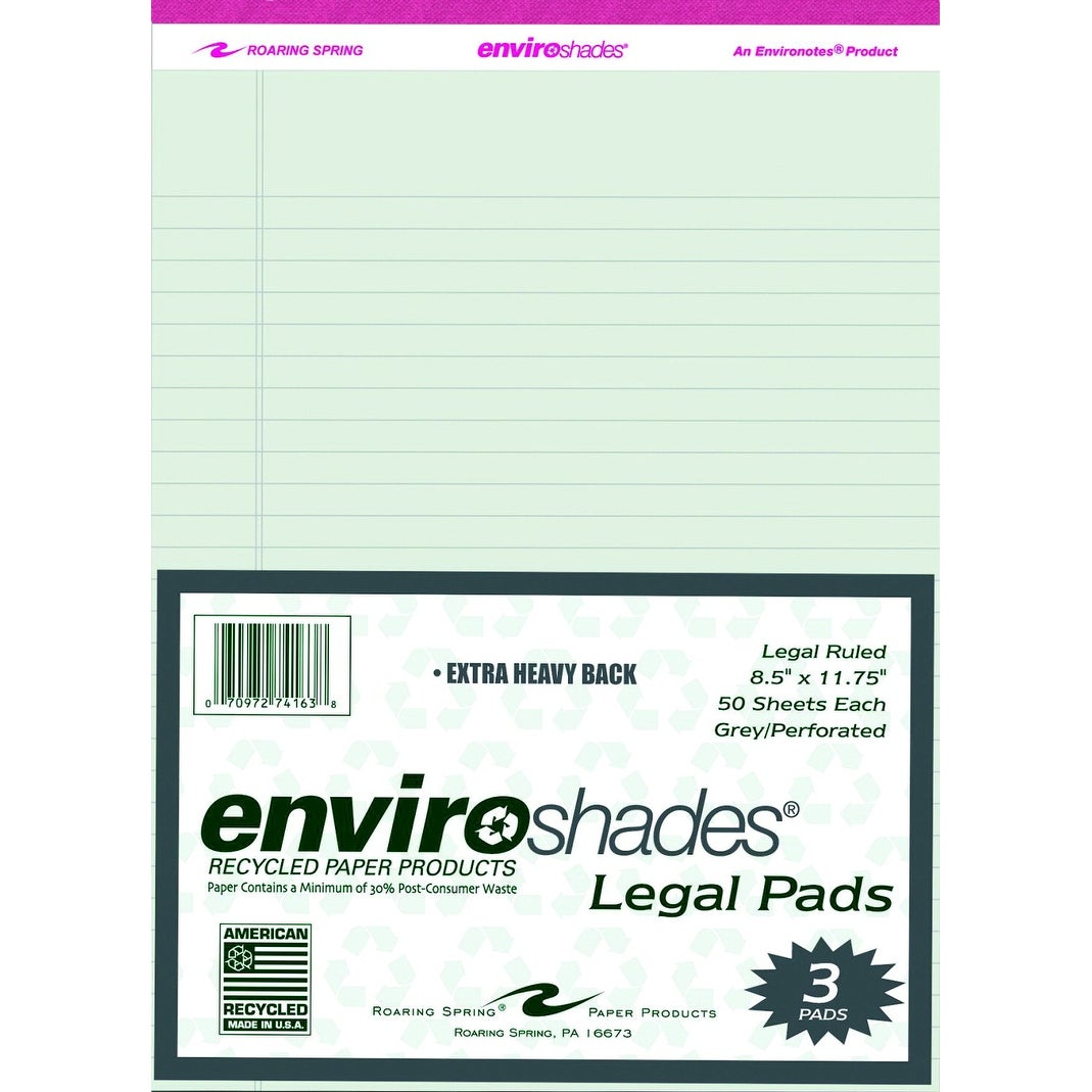 50 Sheets Enviroshades Legal Pads Pack of 3 Pink 8-1//2 x 11-3//4 Inches
