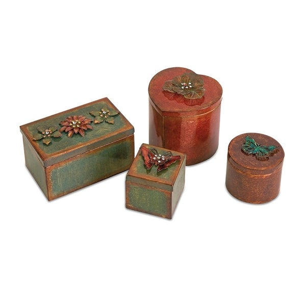 IMAX Home 74035-4RF Ellie Wrought Iron Decorative Boxes - Set of 4 - Multi-Colored