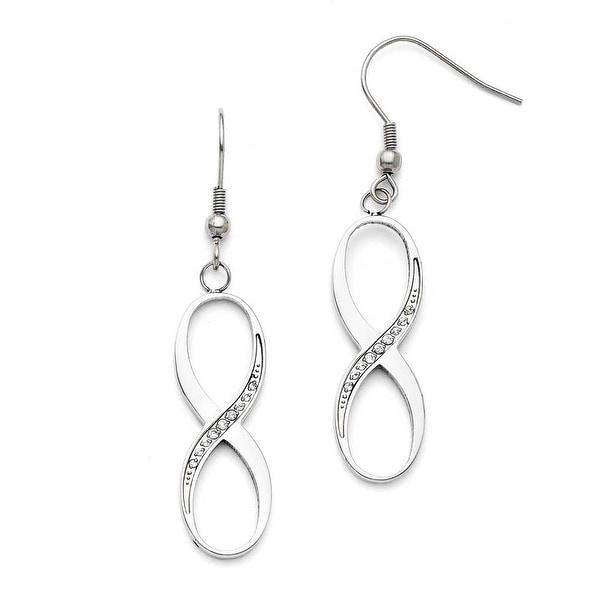 Chisel Stainless Steel Infinity Polished CZ Shepherd Hook Earrings