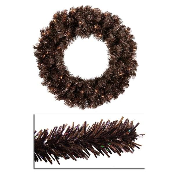"24"" Pre-Lit Mocha Brown Sparkling Artificial Christmas Wreath - Clear Lights"
