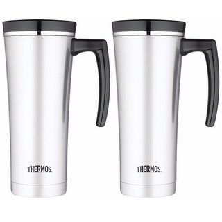 Thermos 16oz Vacuum Insulated Stainless Steel Travel Mug (Silver/Black) - 2PK