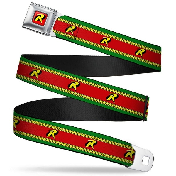 "Robin ""R"" Logo Full Color Red Black Yellow Robin ""R"" Logo Stripe Green Seatbelt Belt"