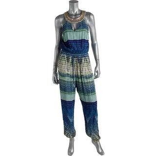 Charlie Jade Womens Embellished Keyhole Jumpsuit - L