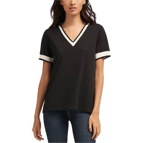 DKNY Womens Contrast Trim Basic T-Shirt, Black, X-Small
