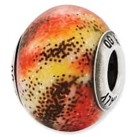 Italian Sterling Silver Reflections Red & Yellow Glass Bead