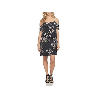 1.State Womens Casual Dress Floral Print Cold Shoulder