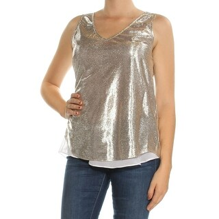 Womens Silver Sleeveless V Neck Top Size M