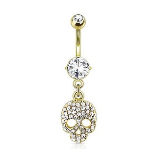Multi Paved Gems Skull Dangle 14Kt Gold Plated Navel Belly Button Ring