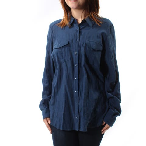 BASS Womens Navy Cuffed Collared Button Up Top Size: M