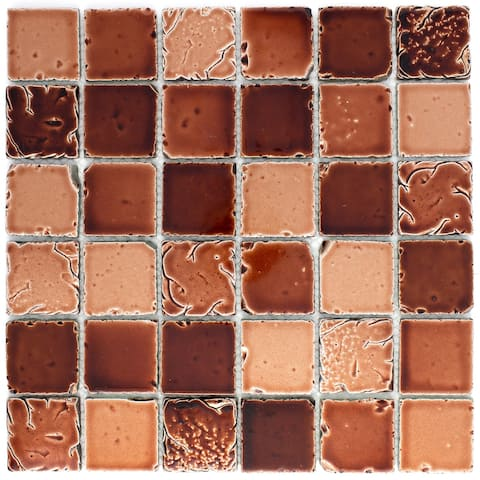 """TileGen. Square Travertine Look 2"""" x 2"""" Glass Mosaic Tile in Red Wall Tile (10 sheets/9.6sqft.)"""