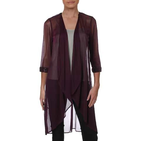 R&M Richards Womens Cardigan Top Sheer Sequins - 8