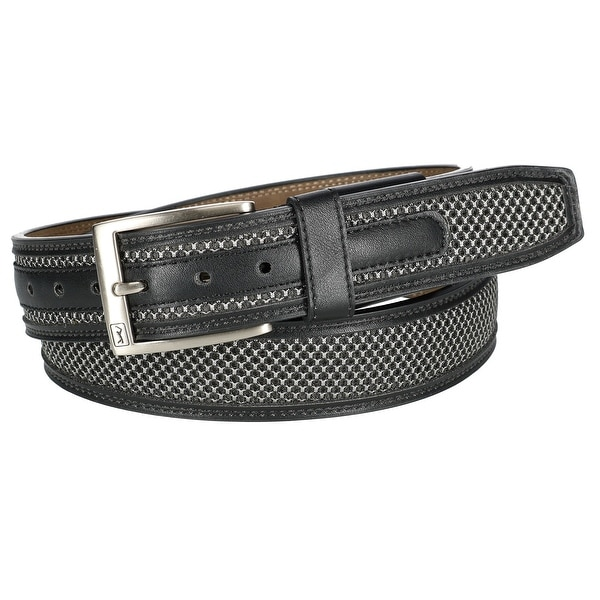 PGA TOUR Men's Leather with Mesh Inlay Hidden Stretch Belt