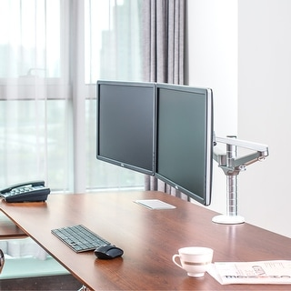 "Heavy Duty Aluminum Allow Dual Adjustable Arm LCD Desktop Monitor Mount. Fits up to 27"" Monitors."