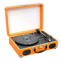 Portable Classic Retro-Style Turntable System with USB-to-PC Connection, Rechargeable Battery (Orange Color)