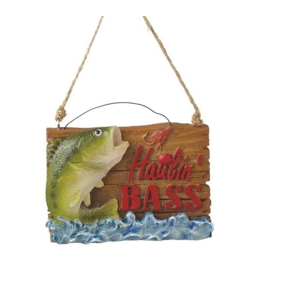 "3.5"" Haulin' Bass Rustic Fishing Plaque Christmas Ornament"