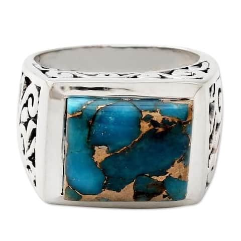 NOVICA Handmade Men's Sterling Silver 'Fascination' Turquoise Ring (India)