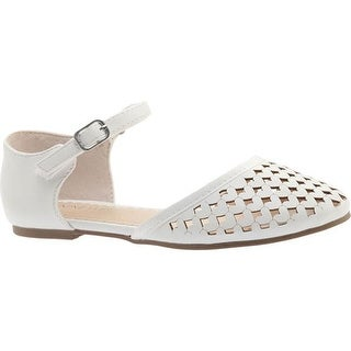 Nine West Kids Girls' Vivien Quarter Strap Sandal White Smooth