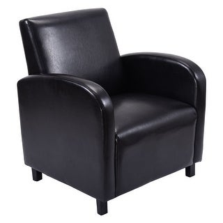 Costway Modern Leisure Chair Sofa PU Leather Wooden Arm Chair Living Room Furniture