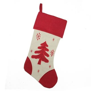"Link to 18"" Red and Ivory Tree with Snowflakes Christmas Stocking Similar Items in Christmas Decorations"