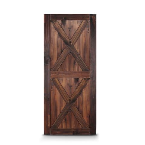 """BELLEZE 36"""" x 84"""" Double X Sliding Barn Door Unfinished Pine, Espresso - standard"""