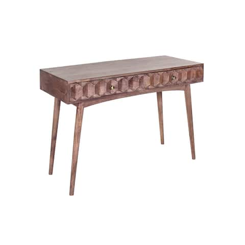 Evola 45-inch Hand Carved Midcentury 2 Drawer Writing Desk