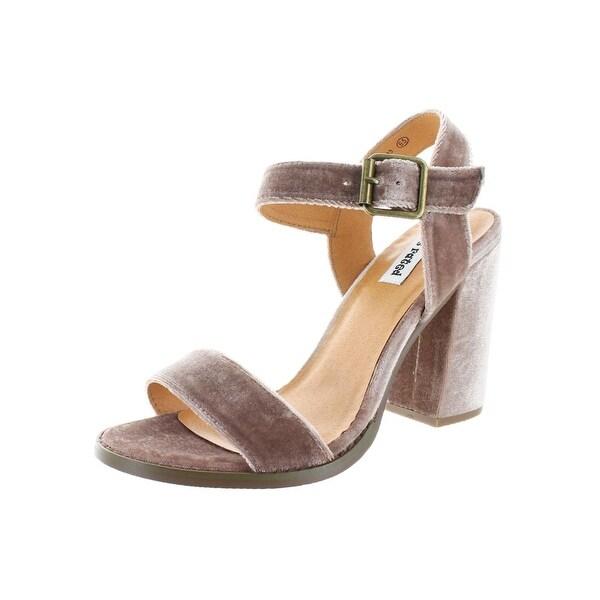 Not Rated Womens Everglade Open-Toe Heels Wrapped Heel Velvet