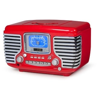 Crosley Corsair Vintage Style Radio - CD Player Alarm Clock - Red - 7 in. x 11.25 in. x 7 in.