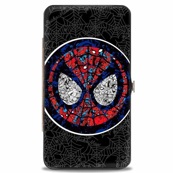 Marvel Comics Stained Glass Spider Man Face Signature Spider Webs Black Hinge Wallet - One Size Fits most