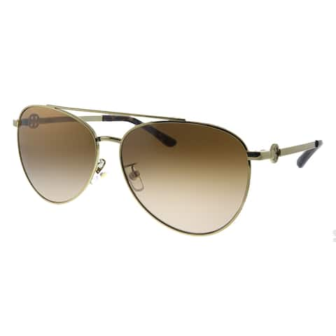 Tory Burch TY 6074 327913 Womens Shiny Gold Metal Frame Brown Gradient Lens Sunglasses