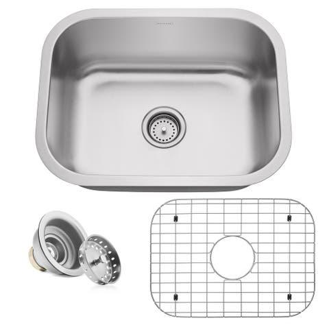 """24"""" x 18"""" x 9"""" 16-Gauge Stainless Steel Kitchen Single Sink- Miligore - 24""""x18""""x9"""""""