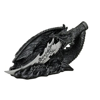 Saurian Athame Decorative Dragon Fantasy Knife With Hand Painted Holder - Black