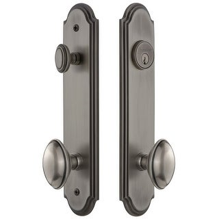 """Grandeur ARCEDN_TP_ESET_238  Arc Solid Brass Tall Plate Single Cylinder Keyed Entry Set with Eden Prairie Knob and 2-3/8"""""""