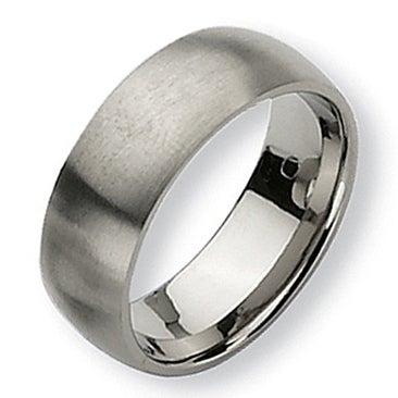 Chisel Rounded Brushed Titanium Ring (8.0 mm)