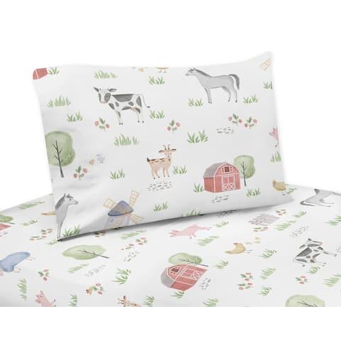 Farm Animals Collection 4-piece Queen Sheet Set - Watercolor Farmhouse Horse Cow Sheep Pig