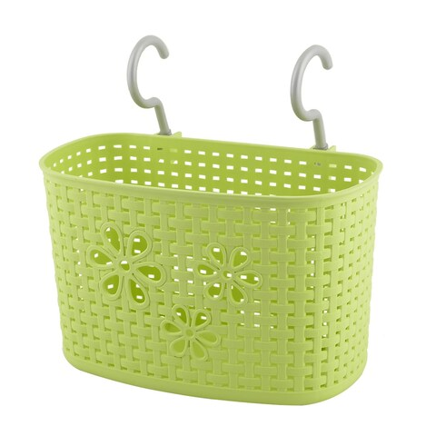 Family Kitchen Plastic Rectangular Hanging Hook Storage Basket Container Green