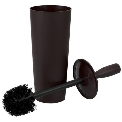 Home Basics Plastic Tapered Toilet Brush and Holder, 4x15 Inches