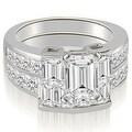 3.80 cttw. 14K White Gold Channel Diamond Princess and Emerald Cut Bridal Set - Thumbnail 0