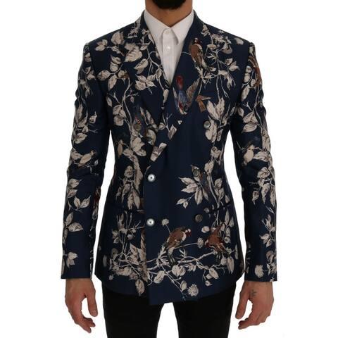 Dolce & Gabbana Blue Bird Print Silk Slim Fit Blazer Men's Jacket