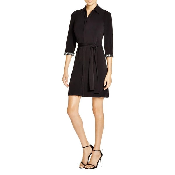 Laundry by Shelli Segal Womens Shirtdress Matte Jersey Embellished