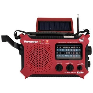 Kaito Solar-Powered Emergency Radio: Red - 8 in. x 2 in. x 4.75 in.