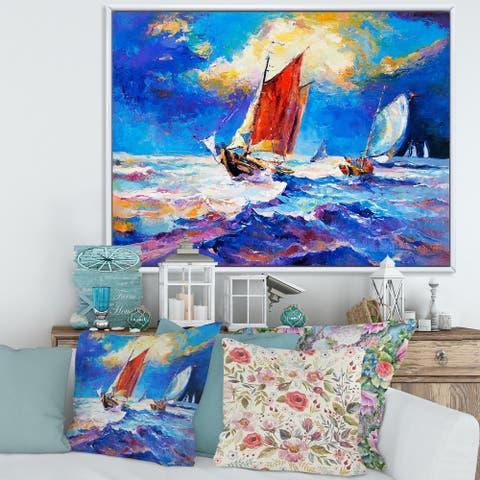 Designart 'Sailships on The Ocean Waves During Sunset' Nautical & Coastal Framed Canvas Wall Art Print
