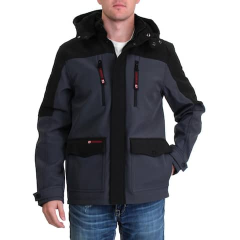 Canada Weather Gear Mens Soft Shell Jacket Lightweight Convertible - Black/Charcoal