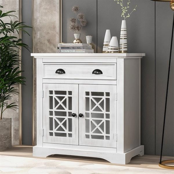 Harper & Bright Designs Retro Storage Cabinet Chest with 1 Drawer. Opens flyout.
