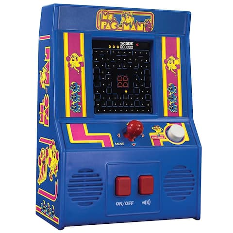 Schylling Miniature Ms. Pac-Man Retro Arcade Video Game - Battery Operated - Blue - 2.6 in. x 6 in. x 11in.