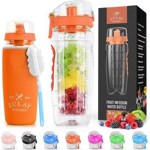 Zulay Water Bottle Fruit Infuser 34oz - Sunrise Orange - With Sleeve
