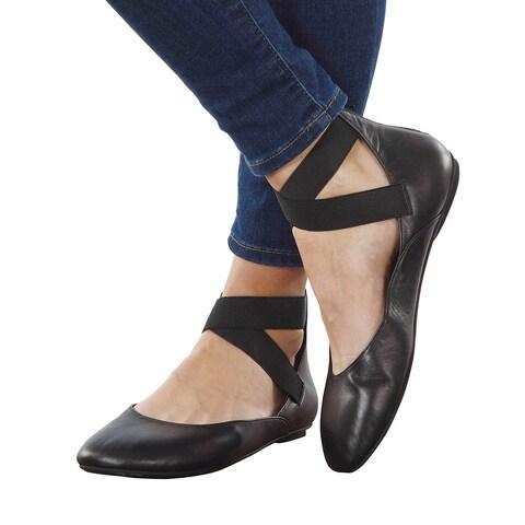 Women's Arabesque Black Leather Ballet Flats - Strappy Zip Backs
