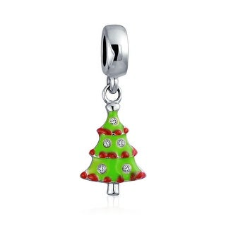 Bling Jewelry Green Enamel Christmas Tree Dangle Bead Charm .925 Sterling Silver