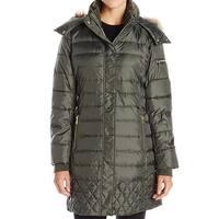 Sam Edelman Green Womens Size Medium M Faux Fur Parka Lara Jacket